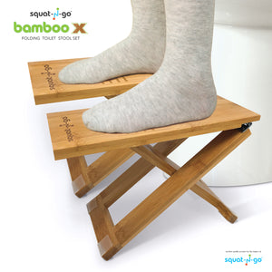 Bamboo X Toilet Stool Set - Comes with FREE travel bag!