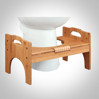 Bamboo Adjustable Toilet Stool w/ Foot Roller
