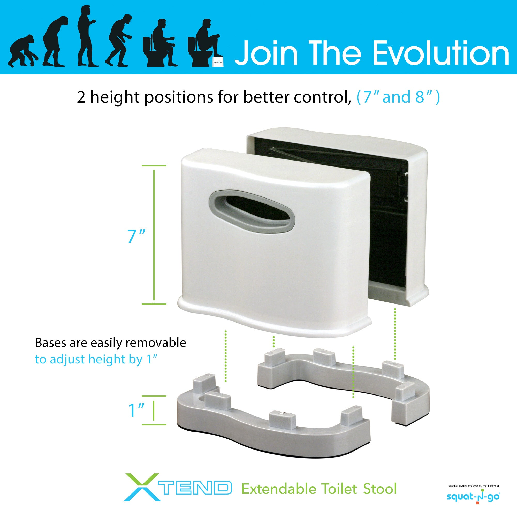 Squat N Go Extendable Toilet Stool Fits All Toilets 7