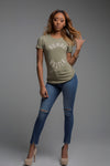 Female Olive Green Hustlr T-shirt