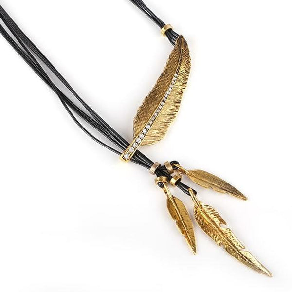 Boho Collection Retro Gold Feather Pendant Necklace