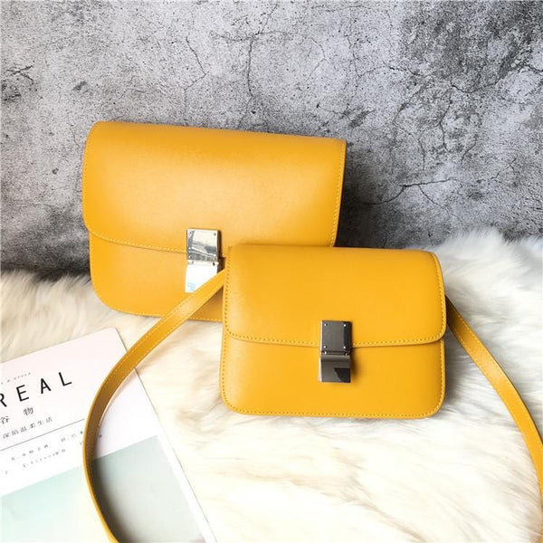 Ava Box Yellow Leather Bag