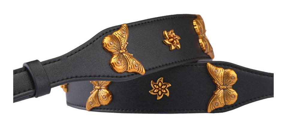 Gold Butterfly Leather Strap