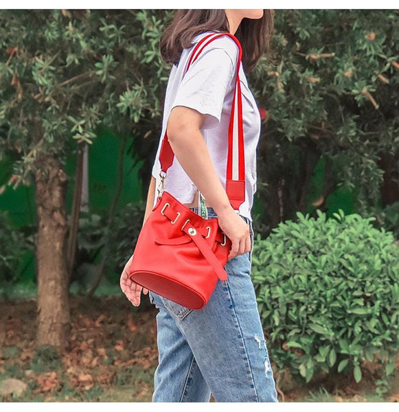 Tina Red Leather Bucket Bag