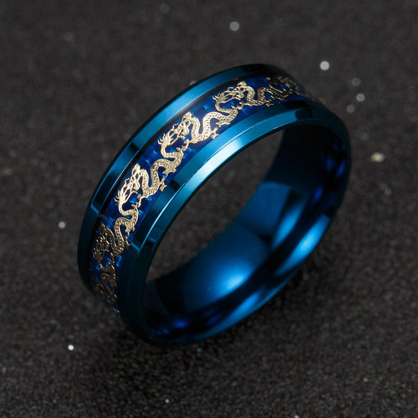 Black with Gold Dragon Inlay Stainless Steel Ring
