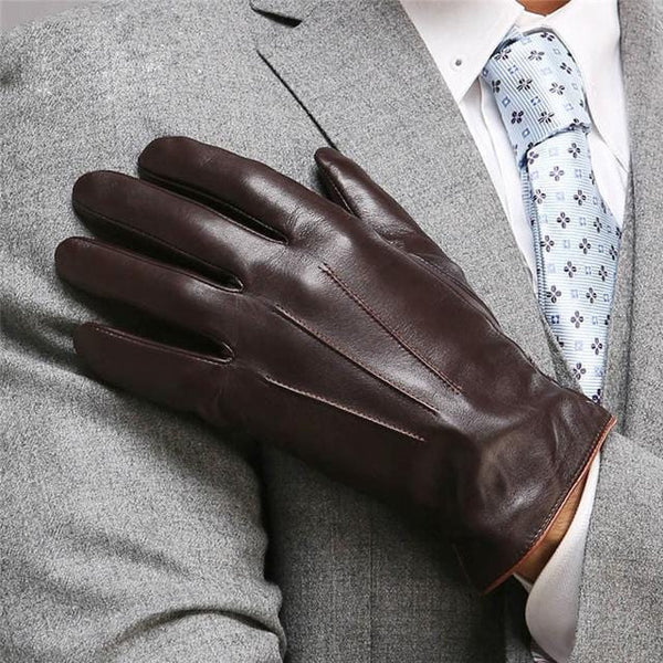 Andu Brown Men Leather Gloves