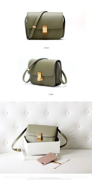 Ava Box Grass Green Leather Bag