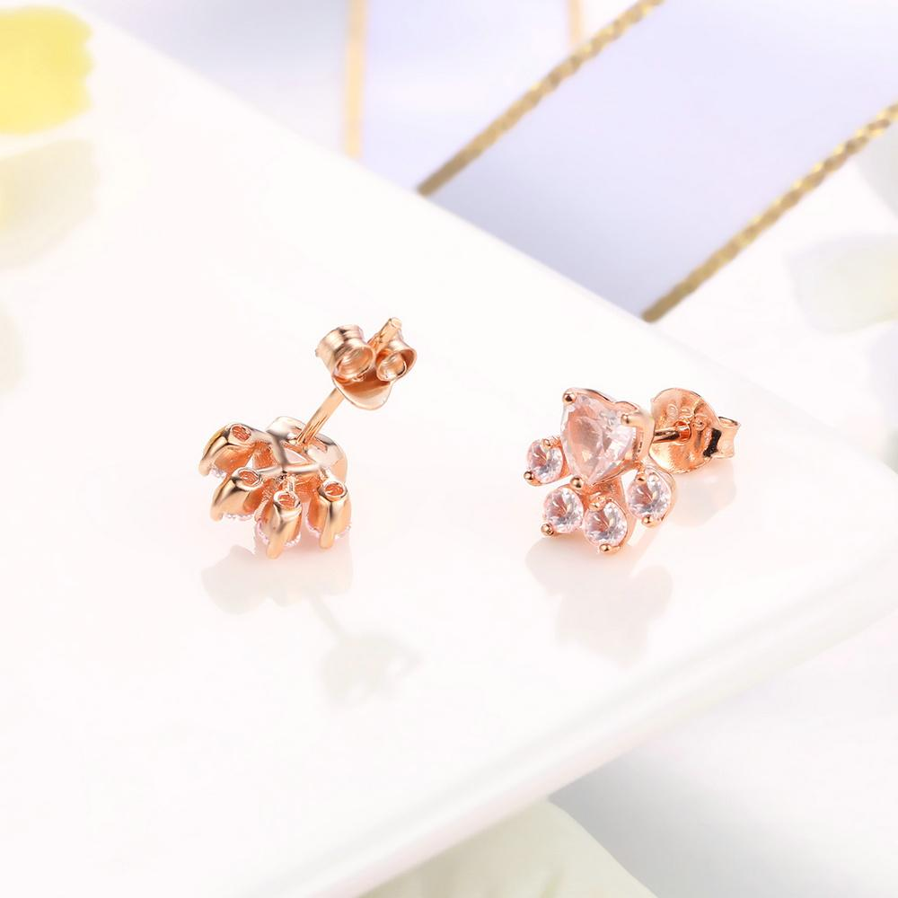 Sterling Silver Rose Gold Plated Claw Earrings