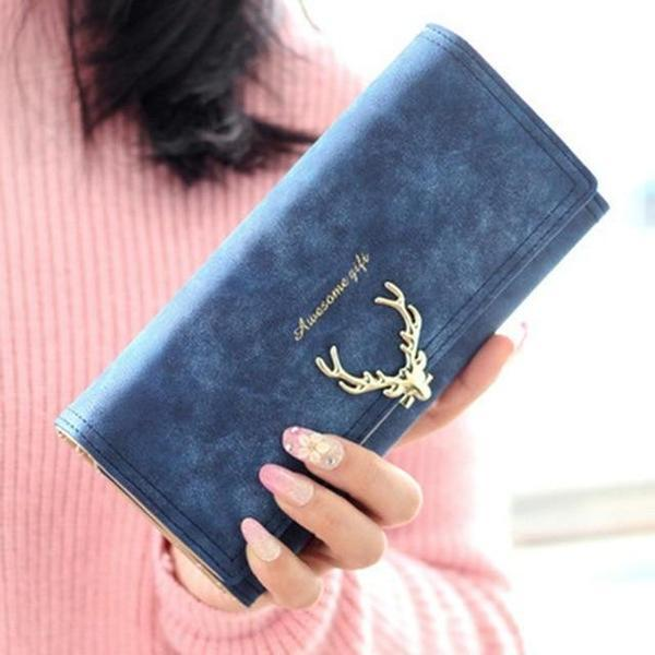 Christmas Deer Women Vintage Long Wallet