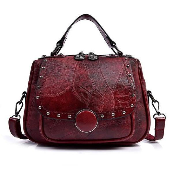 Gia Handbag Burgundy Leather