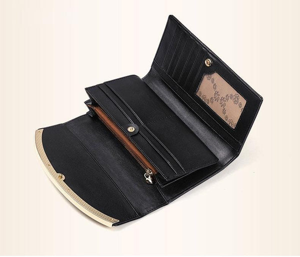 Drew Wallet-Clutch Black Leather