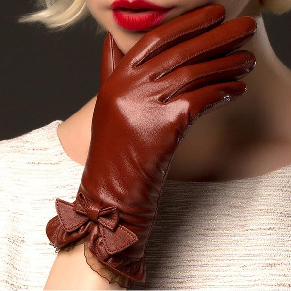 Bow Brick Brown Leather Gloves