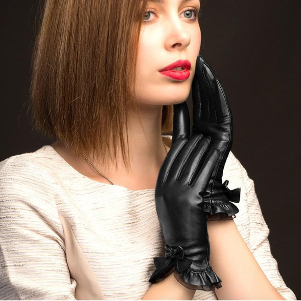 Bow Black Leather Gloves
