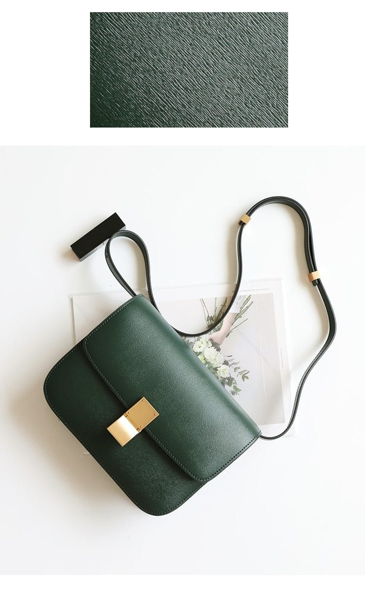 Ava Box Green Leather Bag