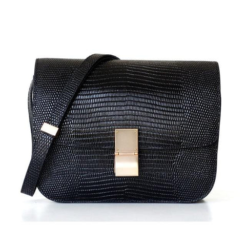 Ava Box Black Embo Leather Bag