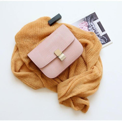 Ava Box Pink Embo Leather Bag