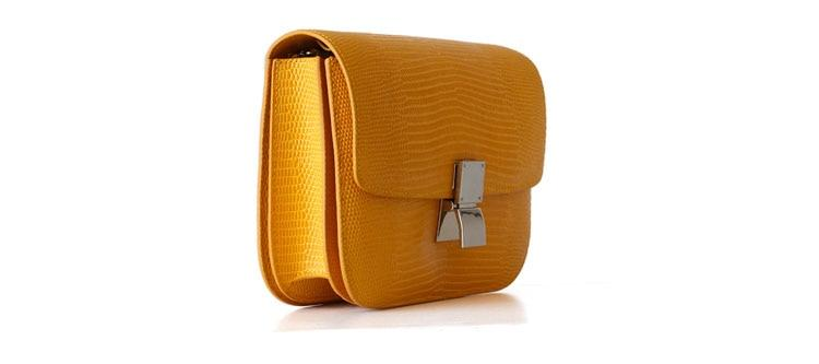 Ava Box Yellow Embo Leather Bag