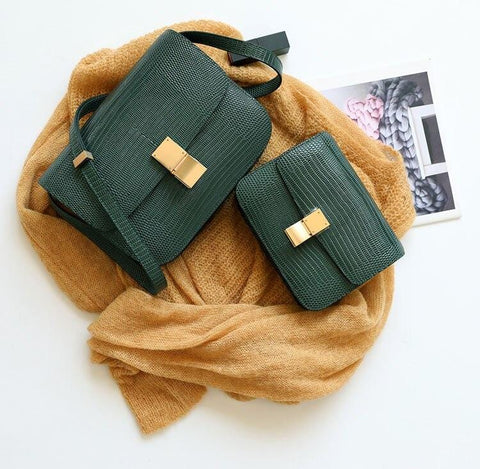 Ava Box Green Embo Leather Bag