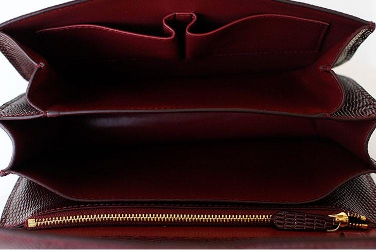 Ava Box Wine Embo Leather Bag