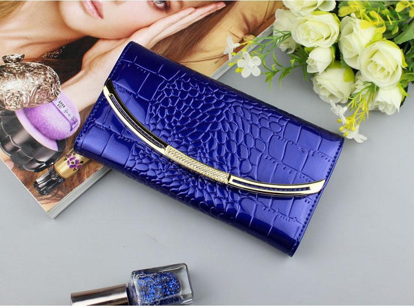 Drew Wallet-Clutch Blue Leather