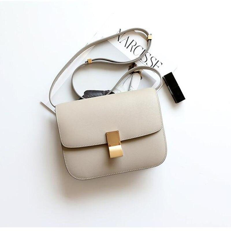 Ava Box Beige Leather Bag