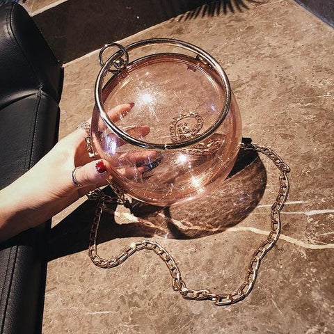 Crystal Ball Statement Nude Bag