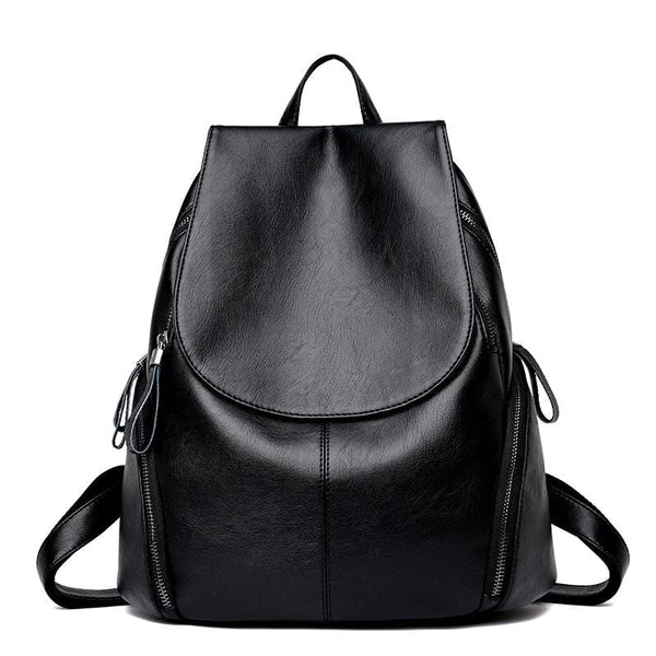 Tyra Black Leather Backpack