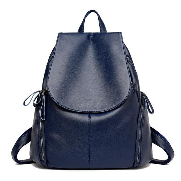 Tyra Navy Blue Leather Backpack