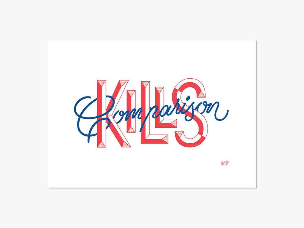 Comparison Kills, A4 Riso Print by Casey Schuurman