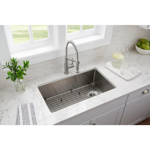 glacier bay tight radius stainless steel 33 in 18 gauge 2 hole single bowl dual mount kitchen sink with grid and strainer