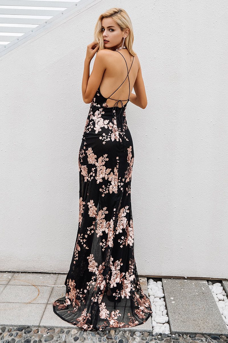 Halter Top Sequin Party Maxi Dress