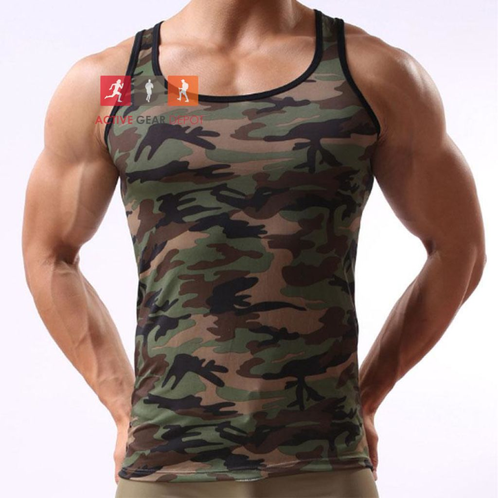 CAMO MENZ -  Tank Top Gym Singlet - Fitness Gear - Active Gear Depot