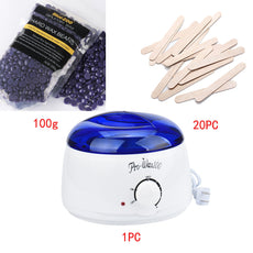 Premium Hard Wax Bean Bundle - Includes Premier Warmer + 100 grams of Lavender Wax Beans + 20 Application Sticks
