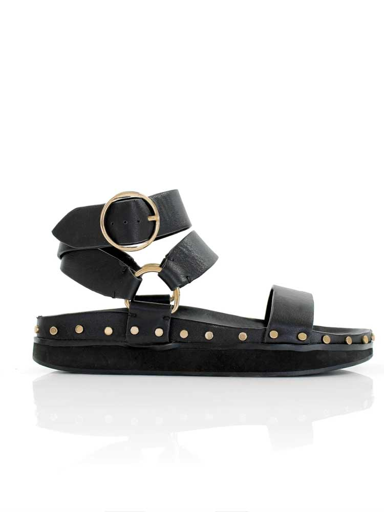 Studded Sandal Black/Gold