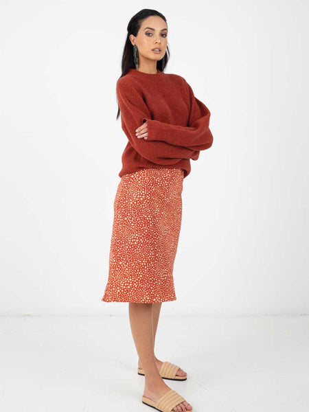 Bias Skirt Toasted Red