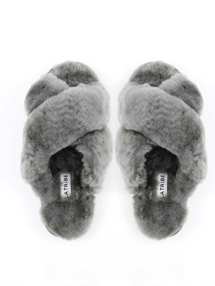 Cross Over Strap Slipper Charcoal