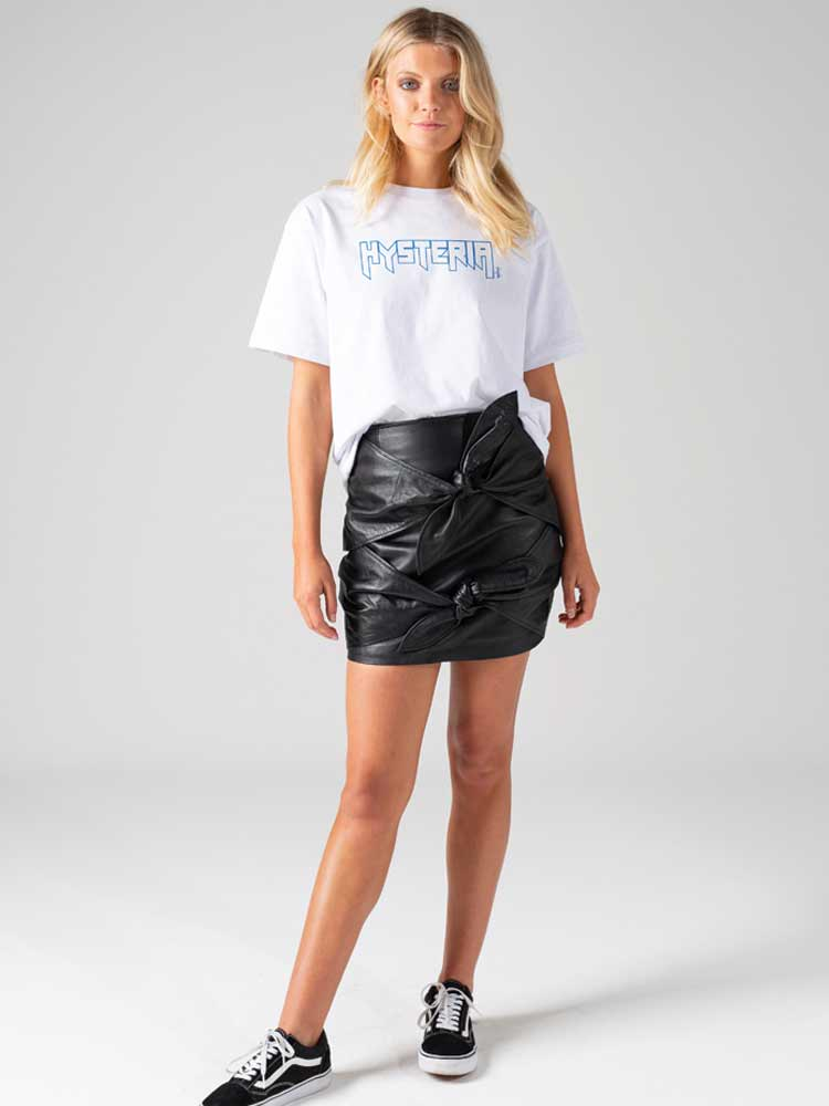 Ties Skirt Black Leather