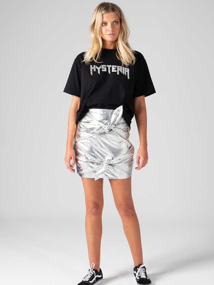 Ties Skirt Silver Leather