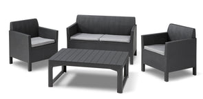 Keter Orlando Outdoor Patio Furniture Set with Adjustable Coffee Table