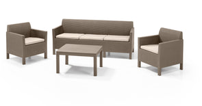 Keter Orlando Outdoor Patio Five Seat Furniture Set (Cappuccino)