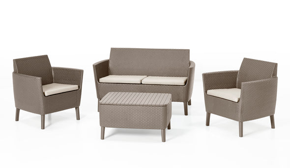 Keter Salemo Lounge Set With Storage Table - CAPPUCCINO