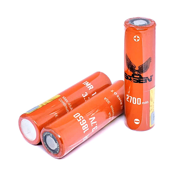 BASEN IMR 18650 45A 2700mAh High Drain Flat Top Rechargeable Battery