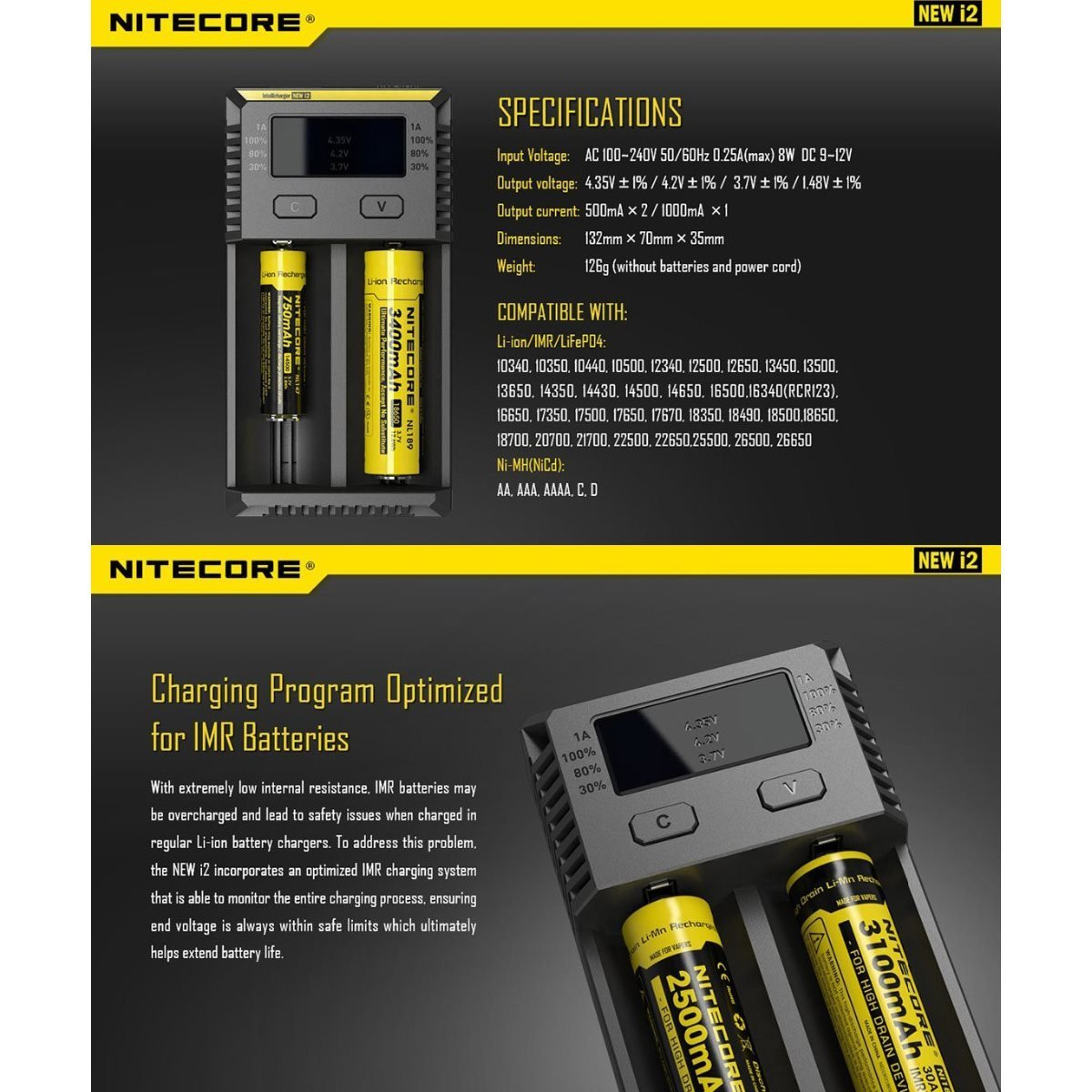 Nitecore i2 Intellicharger Universal Battery Charger 18650 18350 USA SELLER