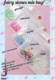 Fairy stones mix bag ! (Sparkly Opal Rhinestones for Nails 3D Nail Art Rhinestones Kit Crystal Diamond Rhinestones and Charms Nail Decoration Flatback Gems Stones Pink White Blue Green Nail Jewels Crafts DIY)