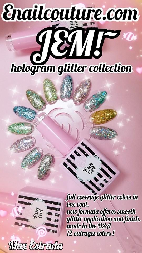 Fun Gel - JEM!~ hologram glitter colors (one coat coverage and smooth finish)