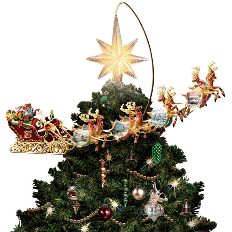 Thomas Kinkade Revolving Christmas Tree Topper