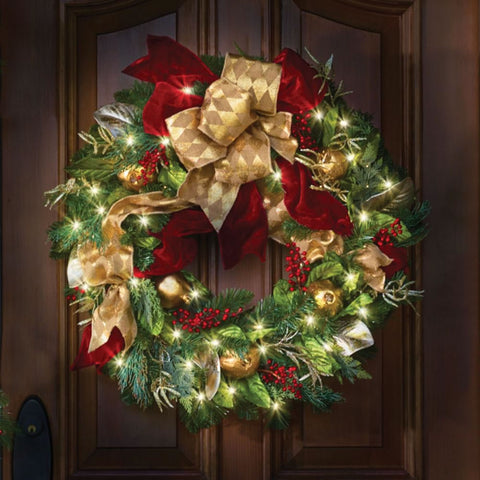 Cordless Prelit Regal Ribbon Wreath