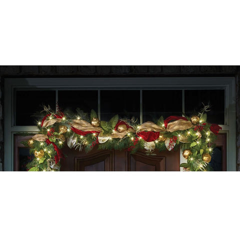 Cordless Prelit Regal Ribbon Garland