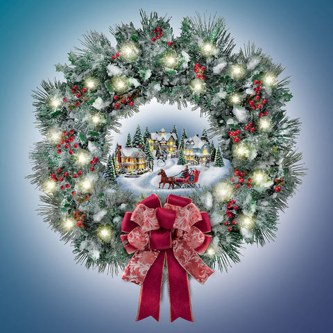Thomas Kinkade Illuminated Holiday Wreath