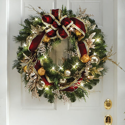 The Cordless Prelit Crimson And Gold Holiday Trim (Wreath)